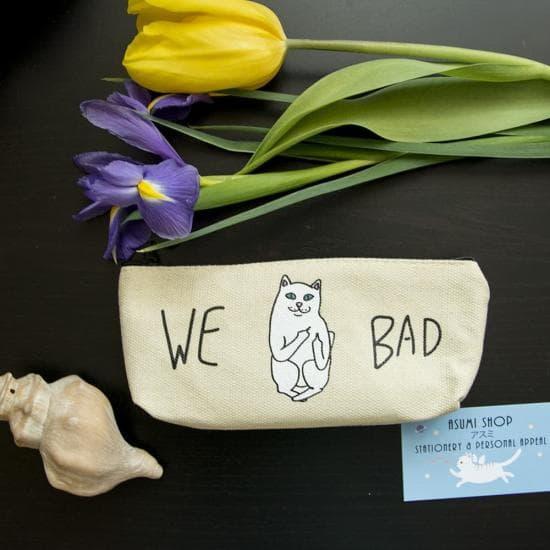 Пенал для ручек We Bad/Дерзкий котик, тканевый