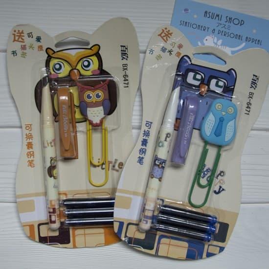 Набор из перьевой ручки, картриджей и скрепки Owl