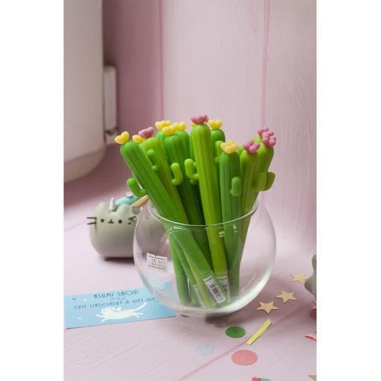 Ручка Кактус с цветком, гелевая