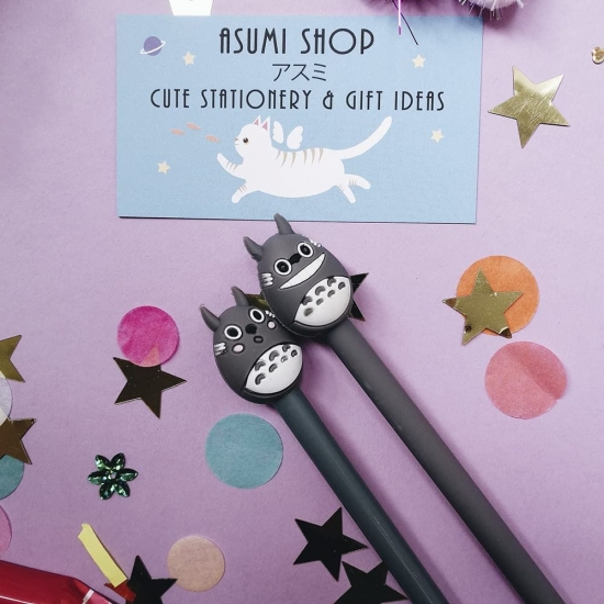 Ручка гелевая черная Totoro v2