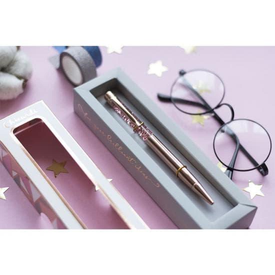 Подарочная ручка шариковая с глиттером CHICARDI, ROSE GOLD