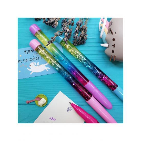 Шариковая ручка с глиттером