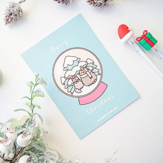 Открытка Pusheen Marry Christmas