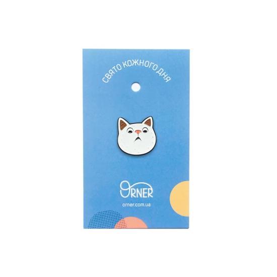 """Милые значки на одежду """"Удивленный котик"""""""