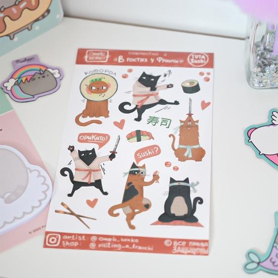 Наклейки Коты и Суши