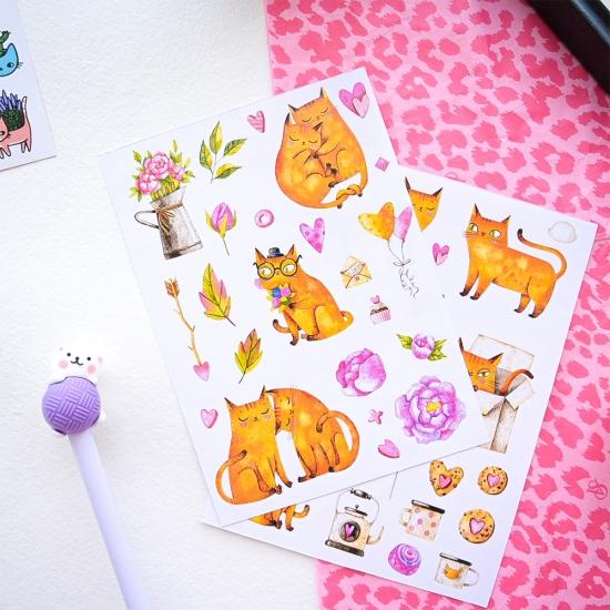 Наклейки Влюбленные коты розовый, Asumi
