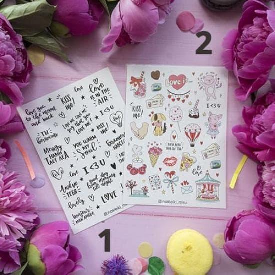 "Лист наклеек для ежедневника ""Love"", Miru"