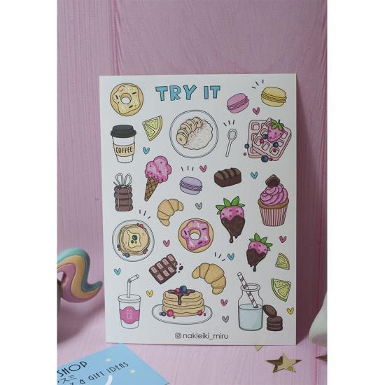 "Лист наклеек для ежедневника ""Try It"", Miru"