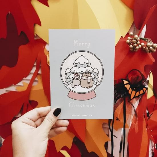 Открытка Pusheen Marry Christmas