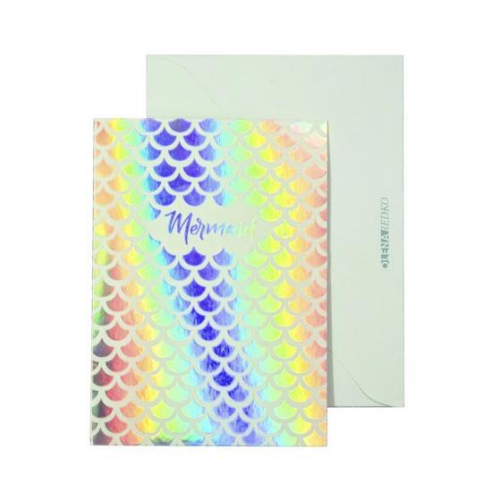 Радужная открытка Mermaid с конвертом