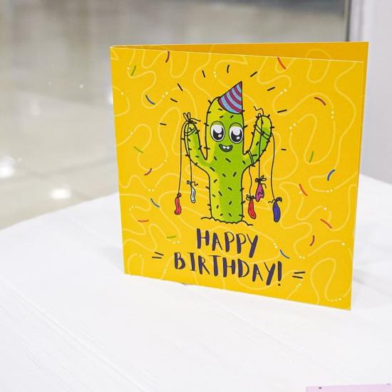 """Открытка шоколадка """"Happy Birthday"""" (cactus)"""